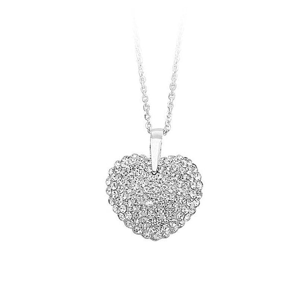 SS CRYSTAL HEART PENDANT NECK / WHITE RE