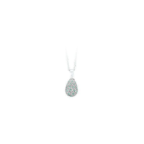 SS CRYSTAL TEAR DROP PENDANT NECK / WHIT