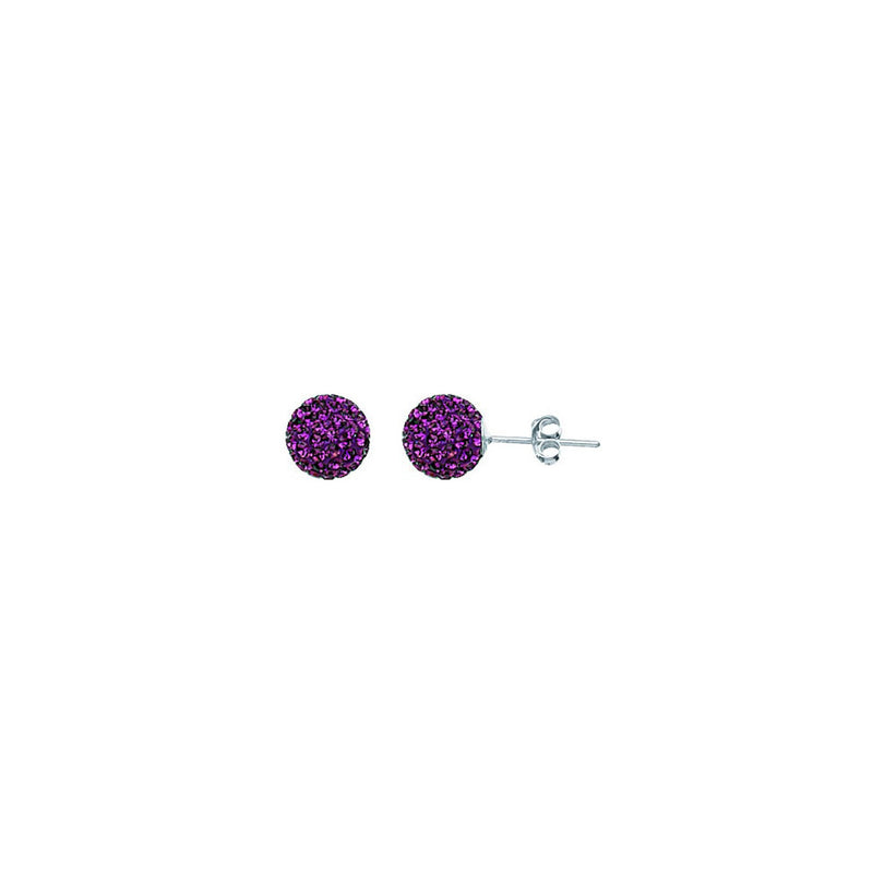 SS FEBRUARY CRYSTAL BIRTHSTONE 8MM STUD