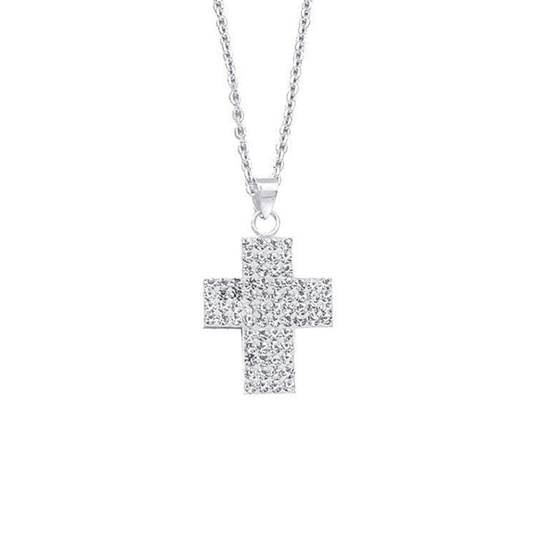 SS CRYSTAL CROSS PENDANT NECK