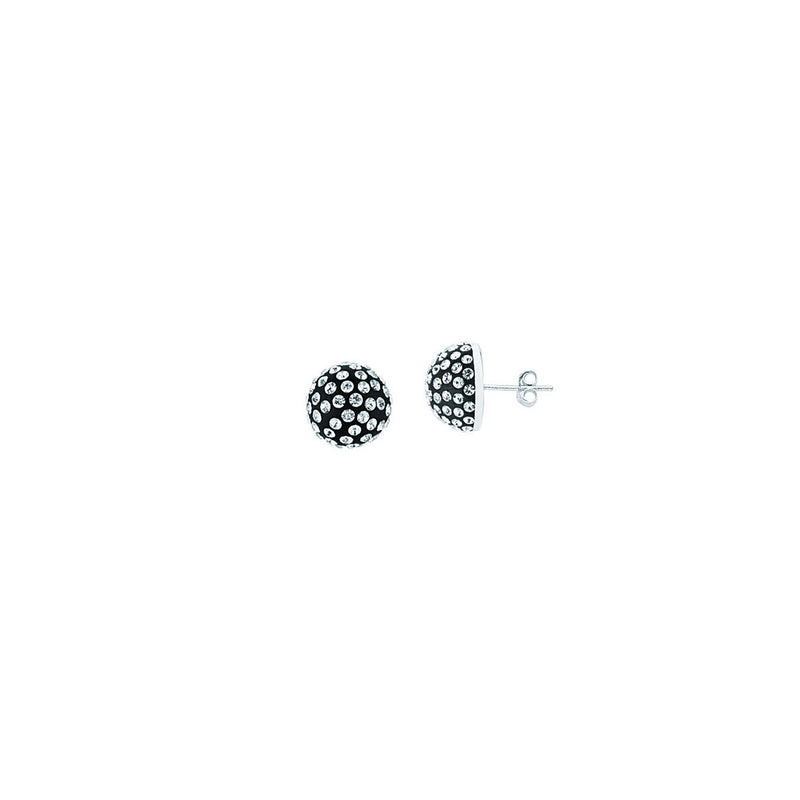 SS 12MM HALF BALL EARRINGS / BLACK RESIN