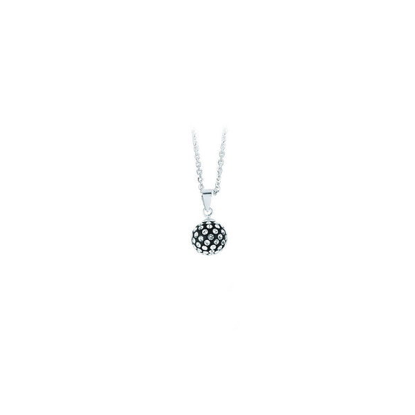 SS 10MM BALL PENDANT NECK / BLACK RESIN
