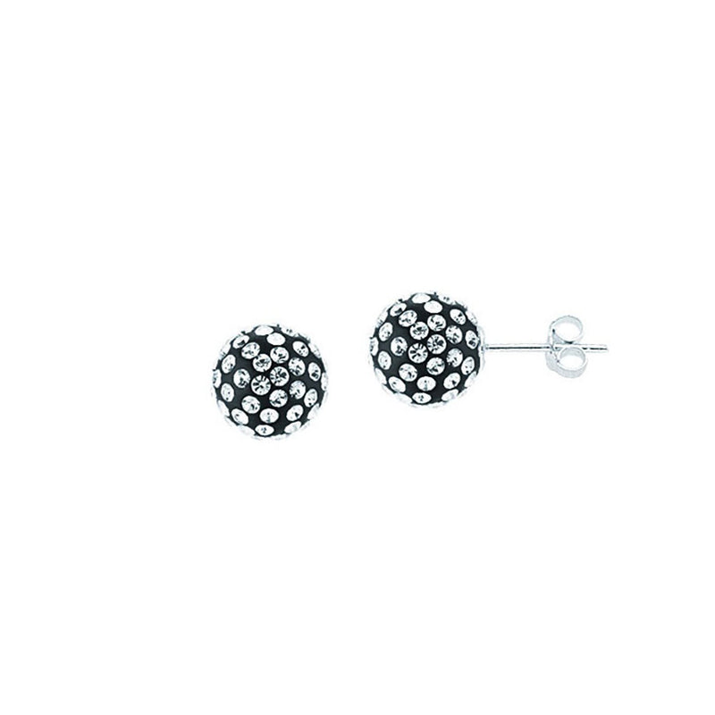 SS 12MM BALL EARRINGS / BLACK RESIN