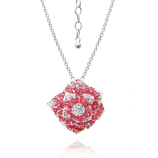 ROSE CRYSTAL  PENDANT ON CHAIN