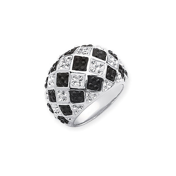 CHECKERBOARD RING/BLK/CLEAR