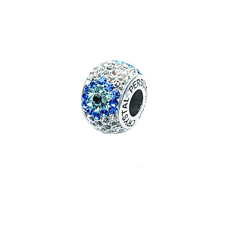 FLOWER BLUE/ WHITE CYRSTAL BEAD
