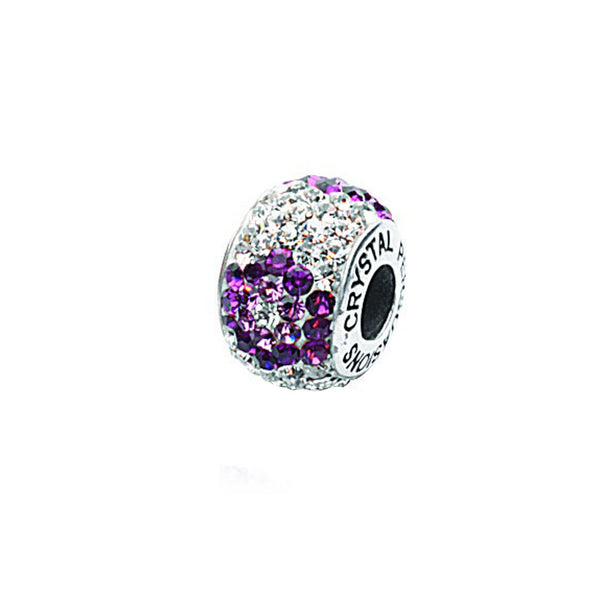 FLOWER PURPLE/ WHITE CYRSTAL BEAD