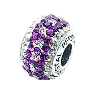 PURPLE/ WHITE CYRSTAL DOTTED BEAD