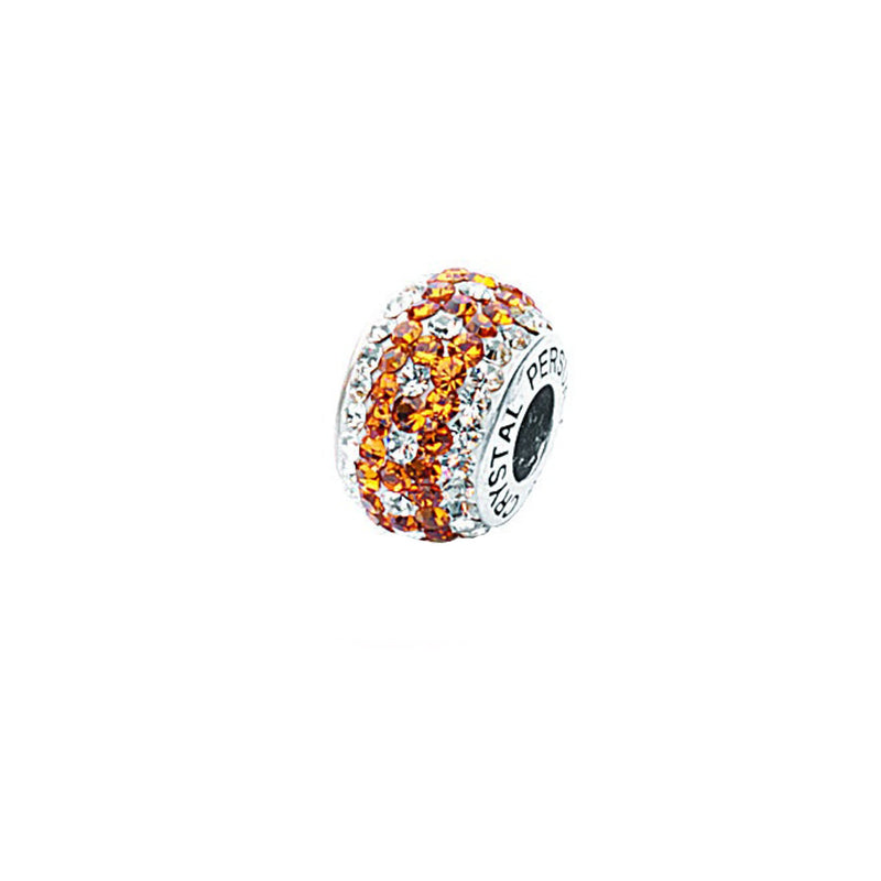 AMBER/ WHITE  CRYSTAL DOTTED BEAD