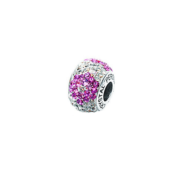 FLOWER PINK/ WHITE CYRSTAL BEAD