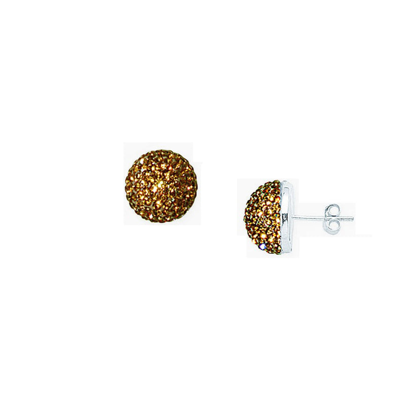 SS CHAMPAGNE CRYSTAL BUTTON EARRINGS