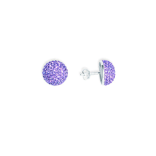 SS VIOLET CRYSTAL BUTTON EARRINGS