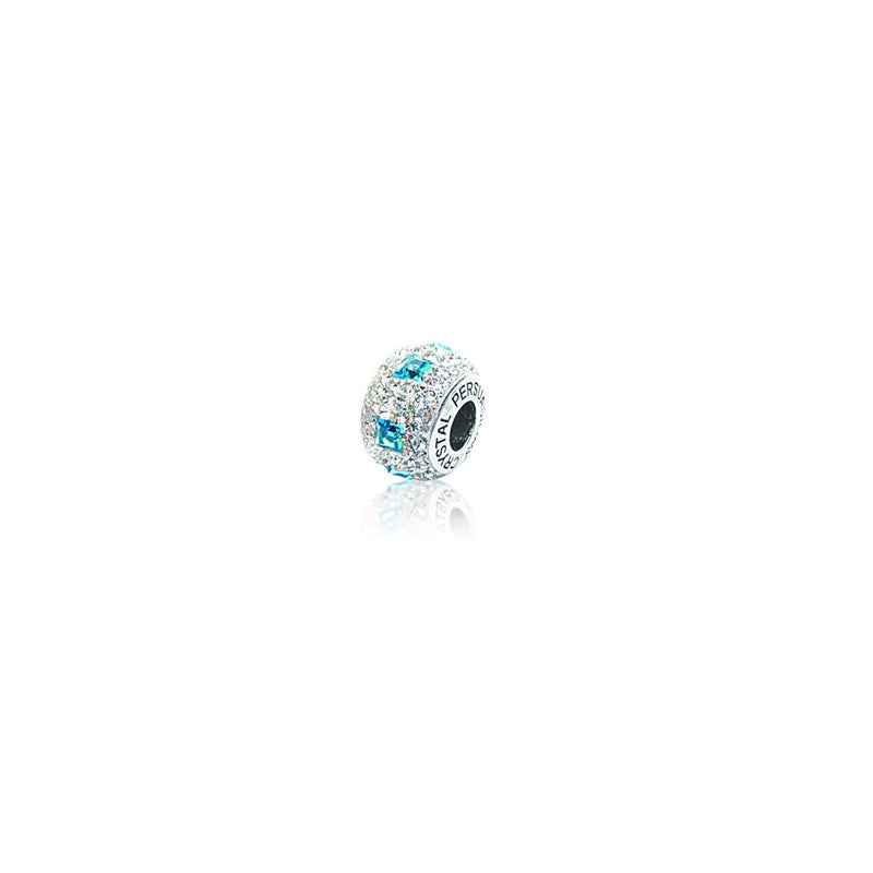 SQ AQUA/ WHITE CRSTAL BEAD
