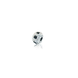 SQ BLACK/ WHITE CRYSTAL BEAD