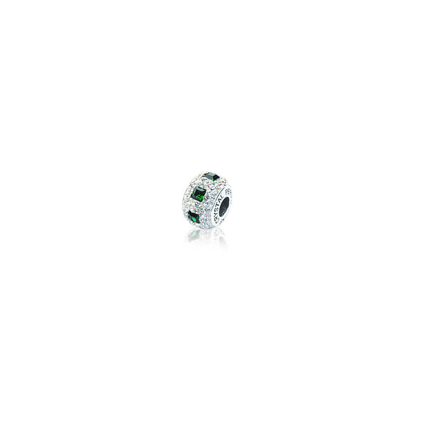 SQ GREEN/ WHITE CRYSTAL BEAD