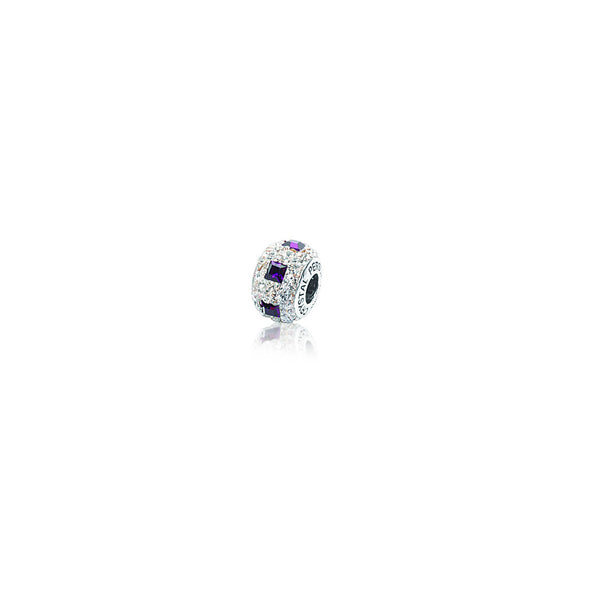 SQ PURPLE/ CRYSTAL BEAD