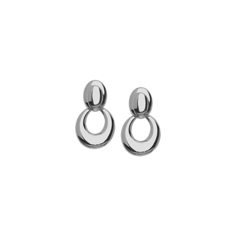 SS RHOD OVAL DROP POST EARRING