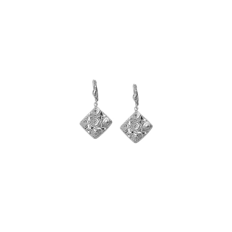 SS RHOD DC DIAMOND DROP EARRING