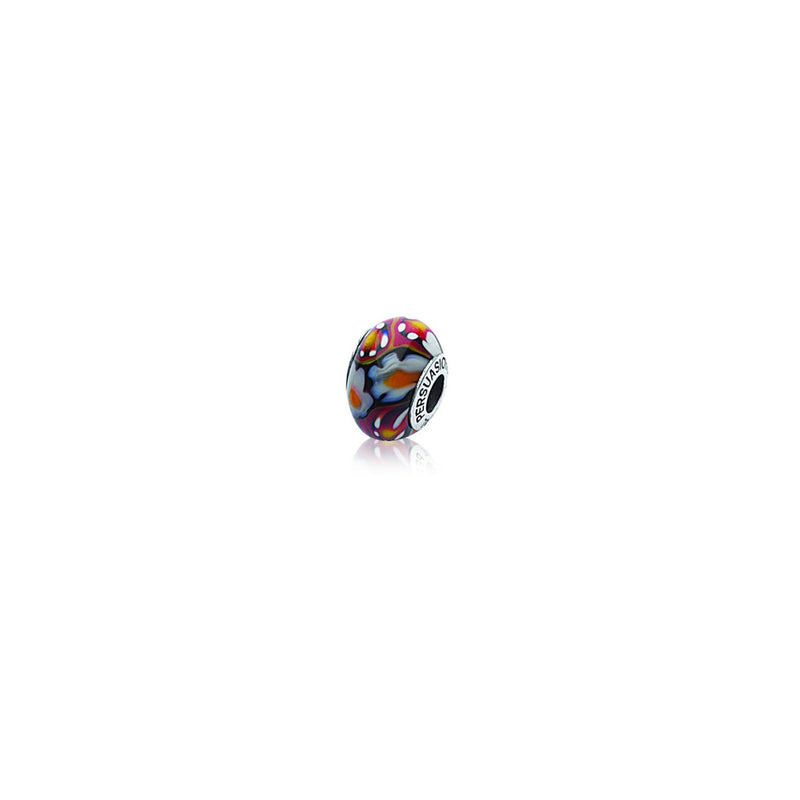 BROWN DESTORTED FLOWERS MURANO BEAD