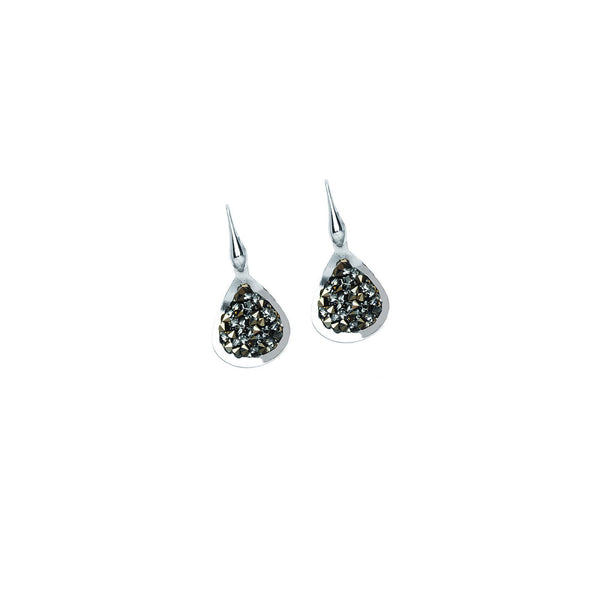 SS RHOD CRYSTAL ROCK TEAR EARRING