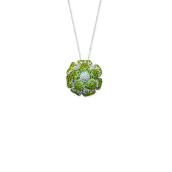 SS RHOD GREEN CRYSTAL FLOWER PENDANT