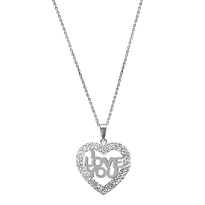 I LOVE YOU CRYSTAL/ SS HEART PENDANT
