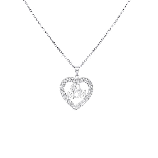 #1 MOM CRYSTAL/SS HEART PENDANT