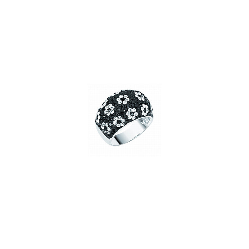 BLK &  WHT CRYSTAL FLOWER DOME RING