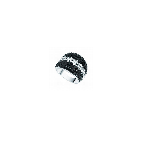 BLK & WHT STRIPE CRYSTAL DOME RING