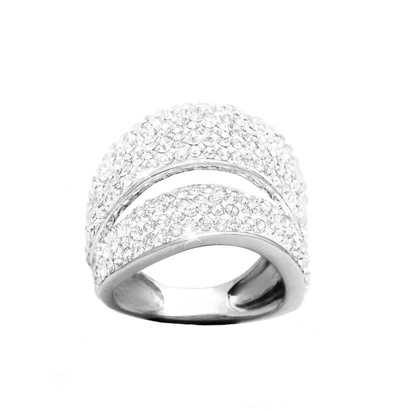 WHITE CRYSTAL TWO ROW RING