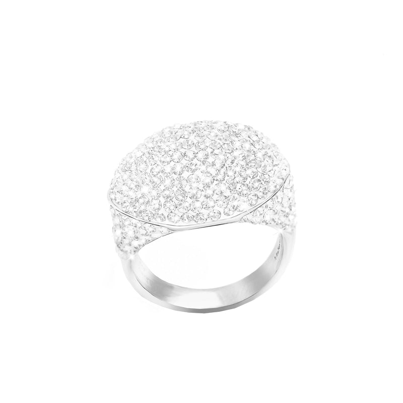 SS WHITE CRYSTAL DOME RING