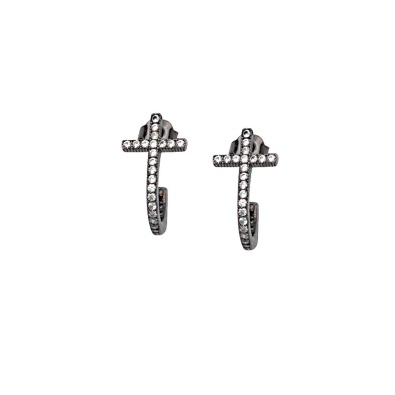 SS PLATED CZ CROSS EARRINGS
