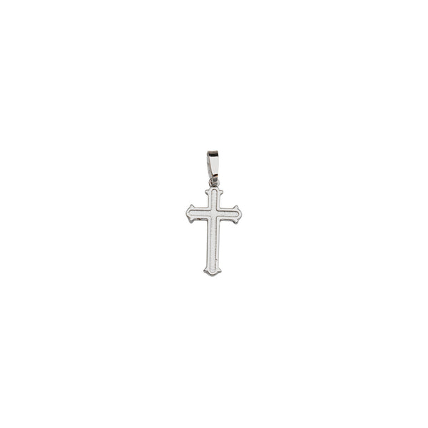 SS RH PLATED RND DEBOSSED CROSS PENDANT