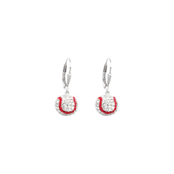 SS 8MM BASEBALL LEVERBACK EARRINGS