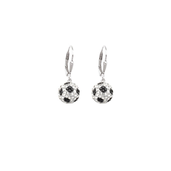 SS 8MM SOCCER BALL LEVERBACK EARRINGS
