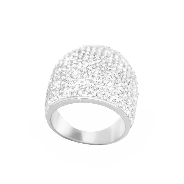 SS LARGE ALL WHT CRYST DOME RING