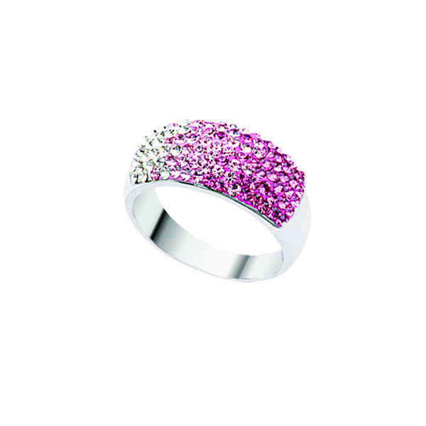 SS & HALF CRYST RING GRAD PINK TO WHITE