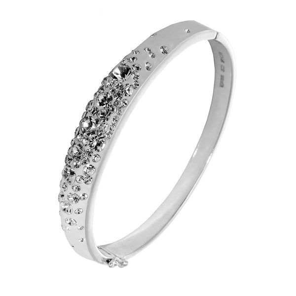 SS LT GREY DOME BANGLE W/WHITE CRYSTALS