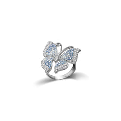 SS BLUE/WHITE BUTTERFLY RING