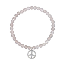 PINK FAC QRTZ WHT/RHOD PLATED PEACE SIGN