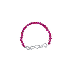 FUCHSIA FAC QRTZ WITH WHT/RH 5 HRTS BAR