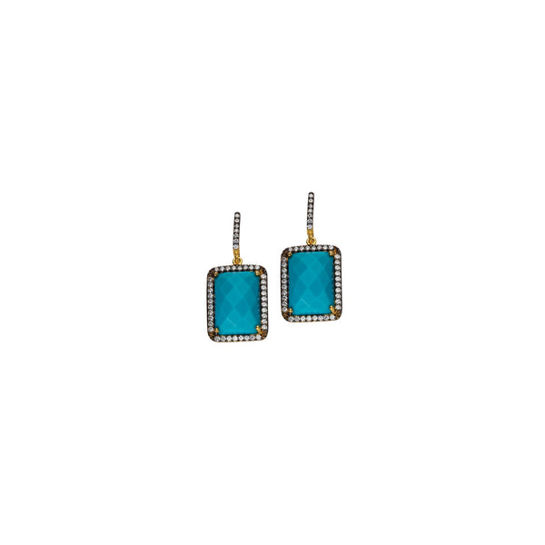 SM RECTANGLE SHAPE EA/CLR CZ/TURQUOISE