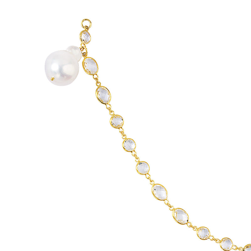 SS-YLW PLATING -WHT TOPAZ- BAROQUE PEARL BRCLT
