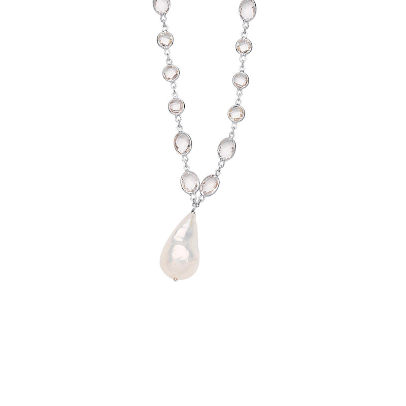 SS WHTE TOPAZ-BAROQUE PEARL NECKLACE