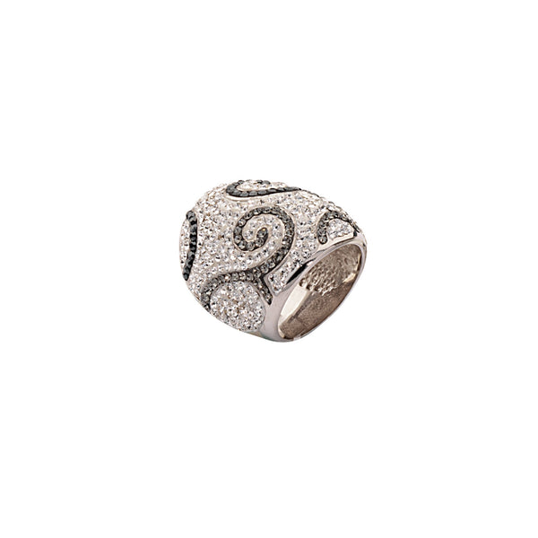 DOME CRYSTAL RING / JET& BLK DIA SWIRL