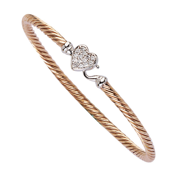 CZ HEART TWISTED BANGLE/HOOK LOCK