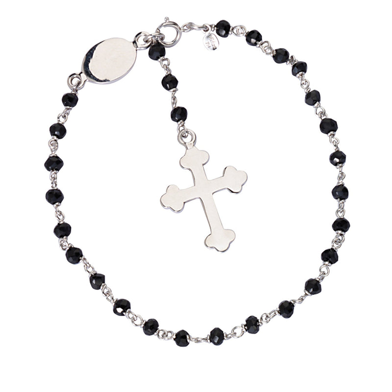 BLK ONYX BEAD BR W/ DANGLE CROSS