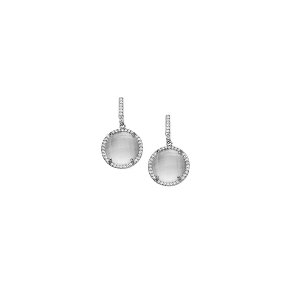 RND SHAPE CLR CZ/WHT QUARTZ DANGLE EAR