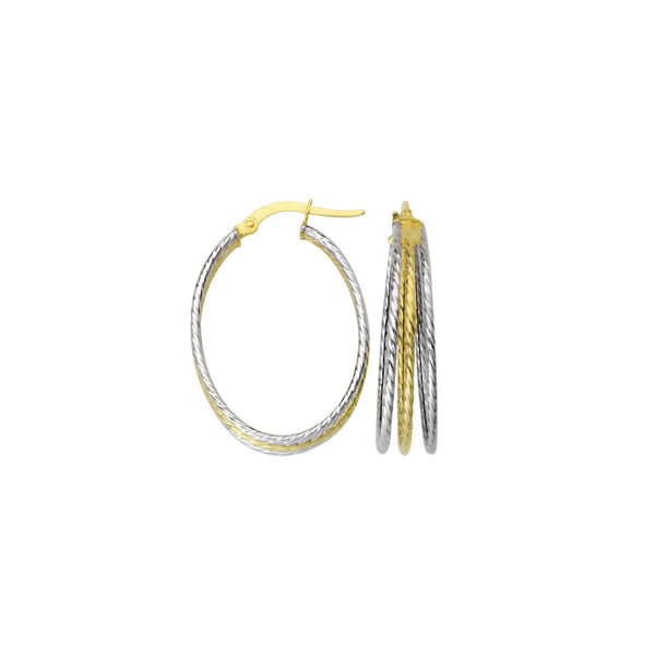3 ROWS TWISTED TUBE OVAL HOOP EARRINGS