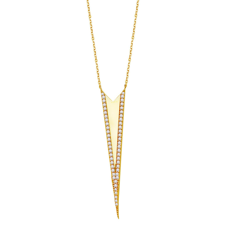 CZ ALONGATED ARROW HEAD NECKLACE